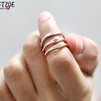 Gold Silver Custom Skinny Stacking Rings Personalized Name Ring For Women Best Friends Wedding Stainless Steel Bridesmaid Gift
