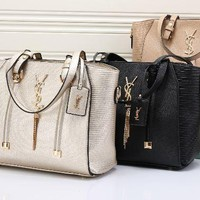 YSL 2017 new fashion leather grid Shoulder & Hand bag [110467645455]