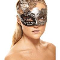 Kayso Masquerade Plastic Mask W-metal Butterfly - Black & Silver