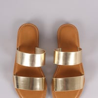 Bamboo Patent Double Band Slide Sandal