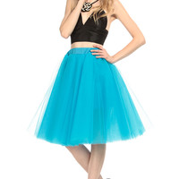 Sea Blue Multi Tulle Midi Skirt