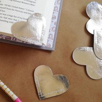 Silver Leather Heart Bookmark - Charming Handmade Book Page Corner Bookmark