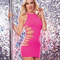 Slashed And Cut-Out Halter Dress