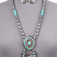 "21"" silver turquoise pendant boho necklace 1.30"" earrings"