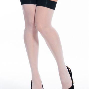 Seamed White and Black Stockings