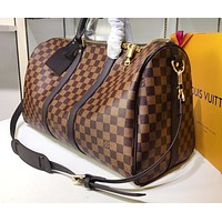 LV Printed Travel Bag with High Quality for Male and Female Shoulder Bags Coffee lattice High-quality