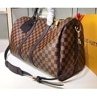 Hipgirls LV Printed Travel Bag with High Quality for Male and Female Shoulder Bags Coffee lattice High-quality