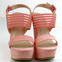Spring Bliss Peach Strappy Wedges