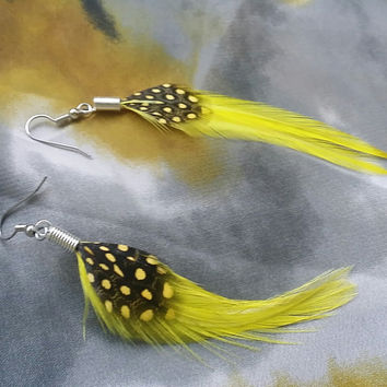 Yellow Feather Earrings with Black and Yellow Polka Dot Feather Earrings