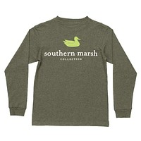 Youth Heathered Authentic Long Sleeve Tee in Washed Dark Green by Southern Marsh