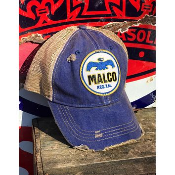 Malco Oil Company Patch Hat- Distressed Royal blue