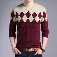 Cashmere Wool Sweater Men Autumn Winter Slim Fit Pullovers Men Argyle Pattern V-Neck Pull Homme Christmas Sweaters