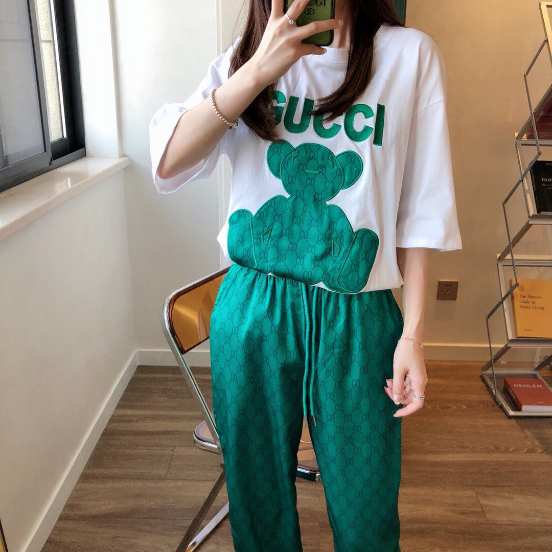 Image of GG Women's Embroidered Bear Short Sleeve + Long Pants Two-Piece Set