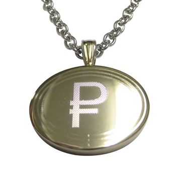 Gold Toned Etched Oval Russian Ruble Currency Sign Pendant Necklace