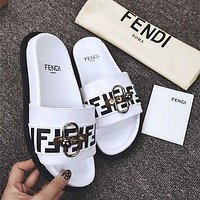 Fendi One-word Slipper Hardware Button Fashion Beautiful Shoes