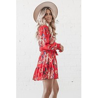 In My Finest Flower Red Floral Print Mini Dress