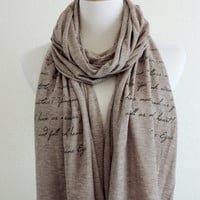 Jane Eyre Literary Scarf - Knit Jersey Raw Edged Scarf - Charlotte Bronte Quote
