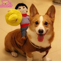 Halloween Riding Horse dog cowboy costume with hat for small dog large dog pet cat funny golden retriever Party jacket clothes