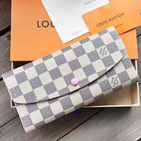 LV Louis Vuitton Women Fashion New Monogram Check Leather Wallet Handbag