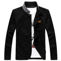 Black Stand Collar One Pocket Long Sleeves Blazer