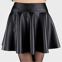 New Style NewLady Girls Faux Leather Skirt  High Waist Skater Flared Pleated Short Mini Skirt Hot Sale