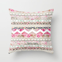 Aztec Spring Time! | Girly Pink White Floral Abstract Aztec Pattern Throw Pillow by Girly Trend