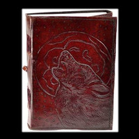 Wolf Moon Genuine Leather Blank Journal with cord