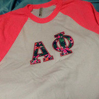 Alpha Phi Lilly Baseball T-Shirt in Size Small