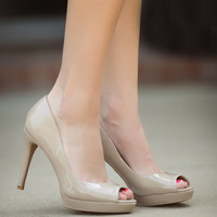 Peep Toe Pumps-Nude