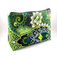 XL Green and Black Moroccan Makeup Bag, Lined, Gadget Case, Under 15, Pencil Case, Medium, Zippered, Cosmetic Case, For Her