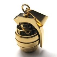 """22"""" KONOV Stainless Steel Grenade Pendant Mens Necklace, Gold, 22 inch Chain"""