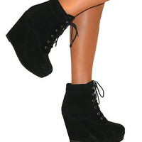 WOMENS LADIES BLACK WEDGE HIGH HEEL PLATFORM SUEDE LACE UP SHOES ANKLE BOOTS