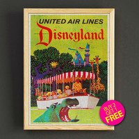 Vintage Disneyland Attraction Poster Disney World United Air Lines Print Home Wall Decor Gift Linen Print - Buy 2 Get 1 FREE - 379s2g