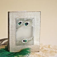Wedding Guest Book  Peacock Design Hand Made and Hand Painted, Glass Window Cover OOAK Book Rustic Eco
