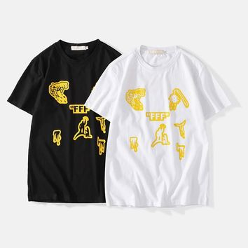 Cotton T-shirts Short Sleeve Hip-hop Couple Bottoming Shirt [1840849879091]
