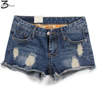 XMY3DWX 2017 New Plus Size Hollow Out Women Tron Jeans Shorts Summer Style Hole Design Denim Shorts for Women Jeans Shorts