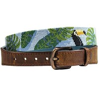 Toucan Needlepoint Belt in Tropical Blue by Smathers & Branson