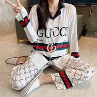 GUCCI Fashion Women Long Sleeve Shirt Pants Two-Piece