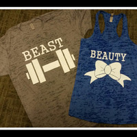 Free US Shipping  Fast Processing Matching BEauty and The Beast Couples with Gray and Royal Blue Tshirt and Tank Top