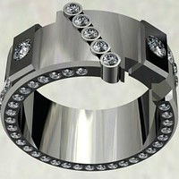 Vintage Men'S Fashion 14K White Gold Jewelry Diamond Ring Engagement Wedding Jewellry Band Rings Party Jewelry Sz 6-13