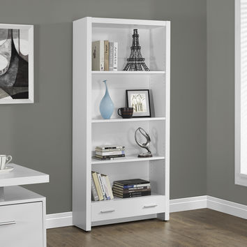 """White Hollow-Core 71""""H Bookcase with a Drawer"""