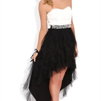 Strapless High Low Prom Dress with Stone Waist and Tendril Skirt
