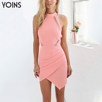 Women Summer Dress Sexy Halter Neck Off Shoulder Bodycon Dress Open Back Irregular Hem Mini Dress