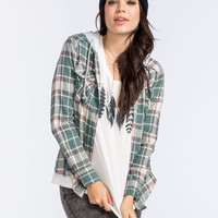 Ali & Kris Womens Hooded Flannel Shirt Grey Combo  In Sizes