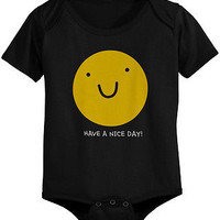 Smiley Face Cute Baby Bodysuit - Pre-Shrunk Cotton Snap-On Style Baby Onesuit
