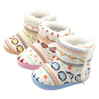 Newborn Baby Boys Girl Kids First Walkers Shoes Infant Babe Crib Soft Bottom Striped Boots