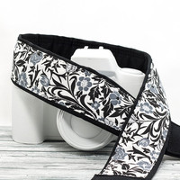 dSLR Camera Strap, Floral, Black, White, Grey, SLR, 26