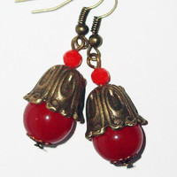 Red beaded bronze earrings vintage tiny women earrings gothic chic affordable gift casual unique summer sale