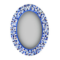 Mosaic Mirror in Blues and Whites, Oval Wall Decor