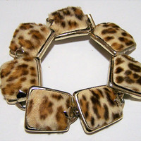 Leopard Print Real Fur Link Bracelet, Gold Tone Setting, Geometric Links, Mid Century Style 1017